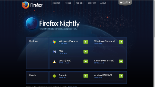 Screenshot of Firefox Nightly Webpage